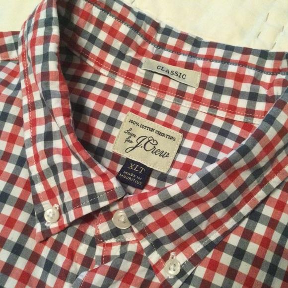 J Crew classic 100% cotton check button down shirt